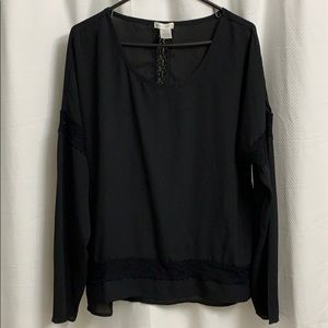 Love on a Hanger Black Lace/Embroidered Blouse
